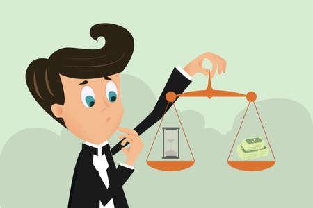 equidad: El hombre de negocios, mano, tenencia tiempo es dinero. Concepto de negocio