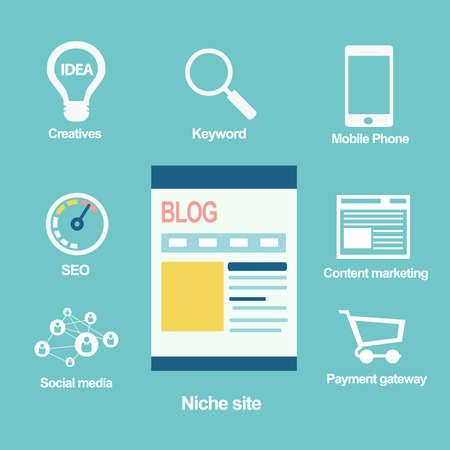 Niche site concept, Blog  Illustration
