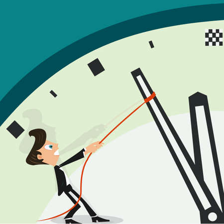 backwards: Businessman pulling a clock hand backwards