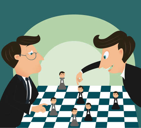 Big boss playing chess using businessman Vector