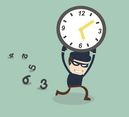 bandit steal clock illustration  Stock Vector - 27326455