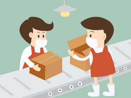Worker packing  Goods On Belt In Distribution Warehouse Vector