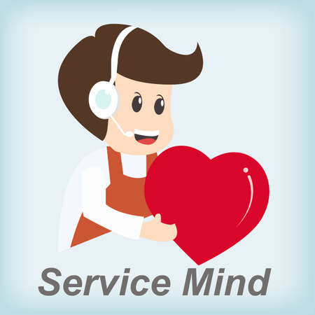 Service Mind ,Customer support operator with smile Illustration