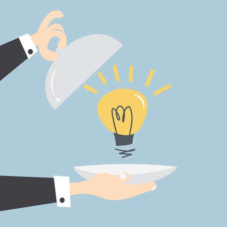 idea cartoon: Serving an idea, vector