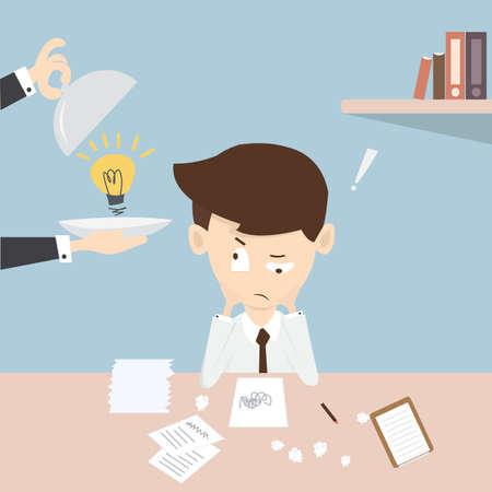 desperate: A young desperate businessman in desk ,Serving an idea