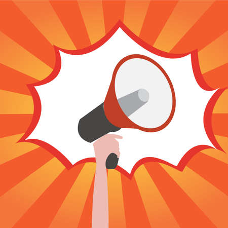 announcement icon: Hand holding a megaphone, promotion marketing concept  , explosion background