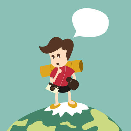 travel man with backpack on world Vector