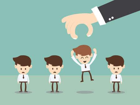 recruter: businessman choisir travailleur de groupe de l'entreprise