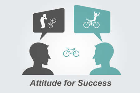 pessimist: Attitude for Success ,man view and think bicycles