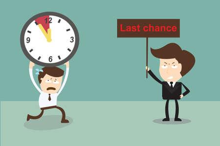 Businessman running to last chance ,Deadline  Illustration