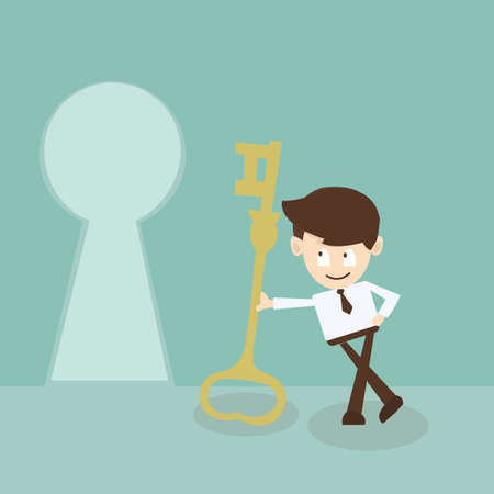 leadership key: businessman looking at key to success, Business concept  Illustration