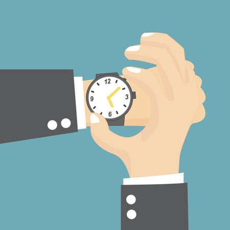 punctual: Empresario comprobando la hora en su reloj de pulsera