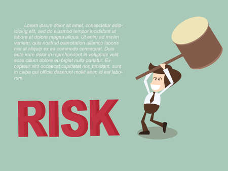 business risk: business man smash risk with rubber mallet