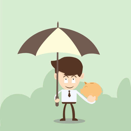 Wealth protection concept,businessman Piggy with a umbrella Vector