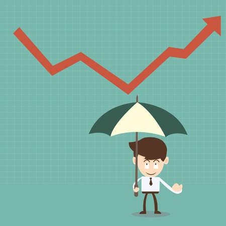 businessman with umbrella and red arrow  Ilustração