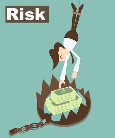 Risk concept , Money trap with business man
