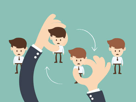 Job Rotation concept,Business hand  hold  businessman Job rotation