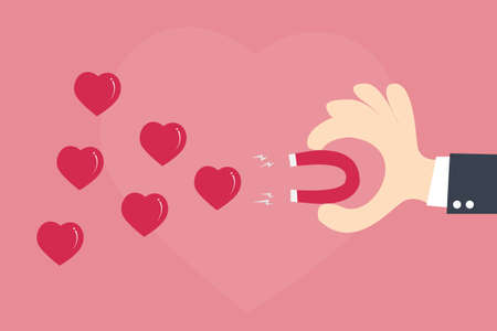Magnet attracting love hearts Vector