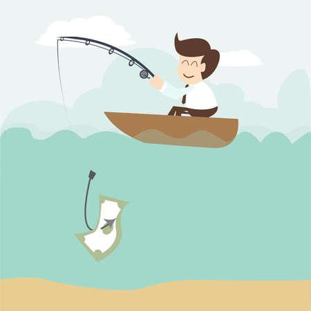 Businessman fishing money  Vector
