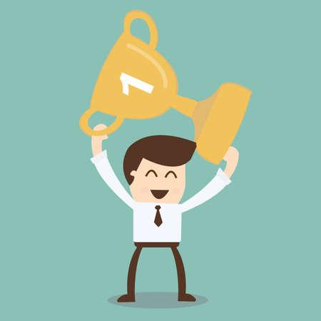 winning first: Businessman holding winning trophy