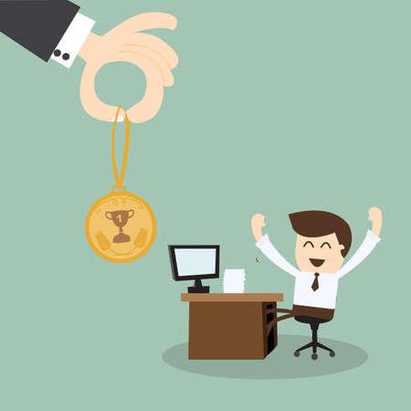 Jefe de la mano dando una recompensa a los empleados Ilustración de vector