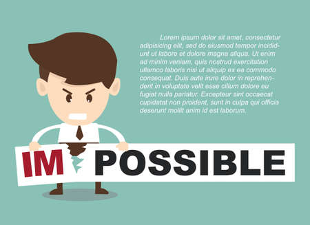 achievable: Businessman turning the word impossible