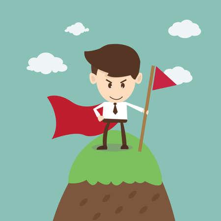 Zakelijk succes, zakenman succes op de top van de berg