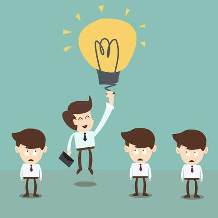 idee gl�hbirne: Gesch�ftsmann Fliegen von Idee Gl�hbirne Ballon, Innovation und Nutzen in der Wirtschaft Illustration