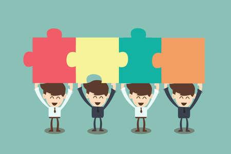 지그 소 퍼즐을 조립하는 사업 사람들 일러스트