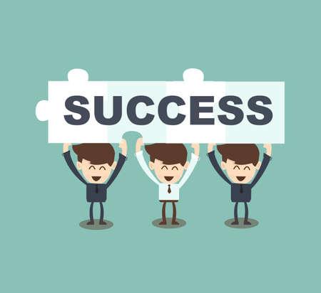 ビジネスマン チームワーク ホールド ジグソー パズル [success]  イラスト・ベクター素材