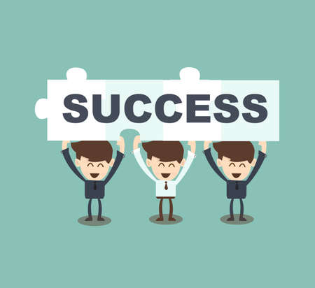 Businessman teamwork hold jigsaw  the word Success