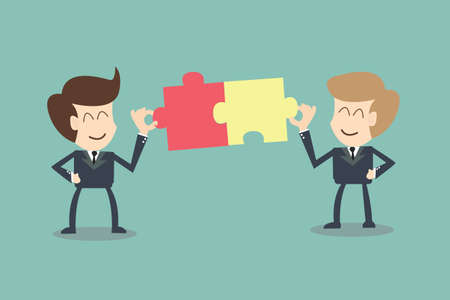 The concept of businessman connection partners Illustration