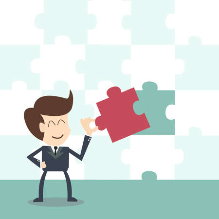Missing jigsaw puzzle piece ,businessman completing the final puzzle piece  Illustration