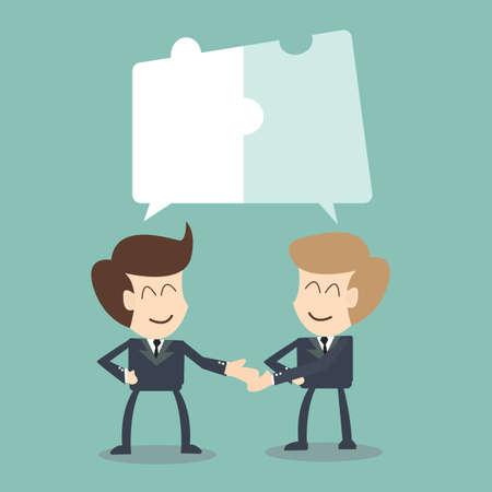 공동 노력 - 협업 개념, 퍼즐 개념을 가진 대화에서 사업가