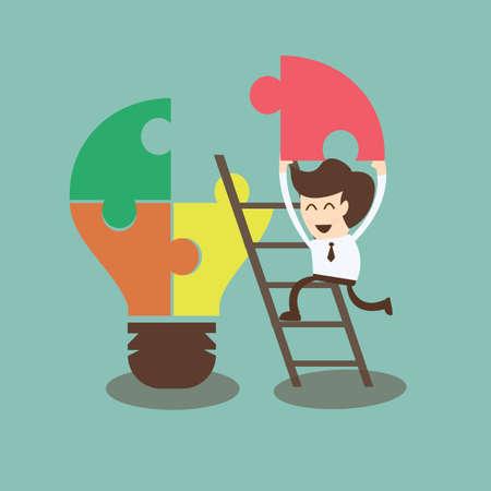 大きな創造的なビジネス考えのアセンブリの概念