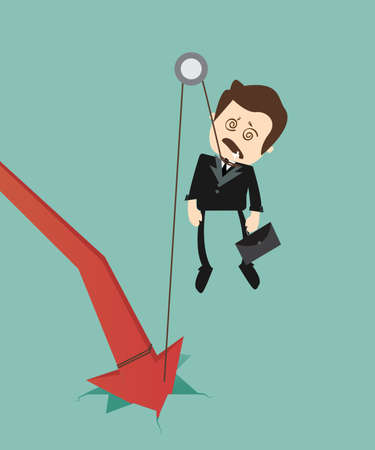 hanging out: graph down with hanged businessman Illustration