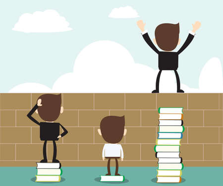 cognizance: business man standing on stack of books