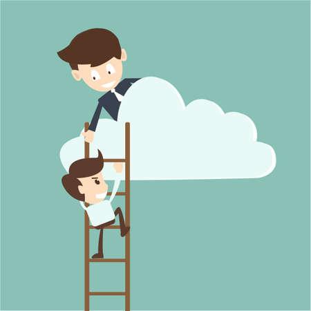 別の雲の下からプルする実業家ヘルプ