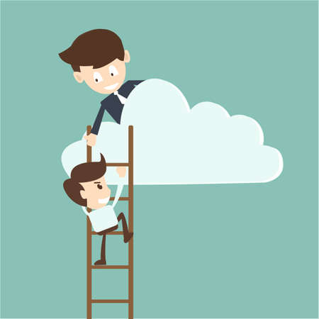 Businessman help to pull another from bottom of cloud  Ilustração