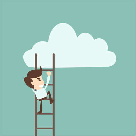 competition concept - businessman climbing on ladder to drawing cloud Иллюстрация