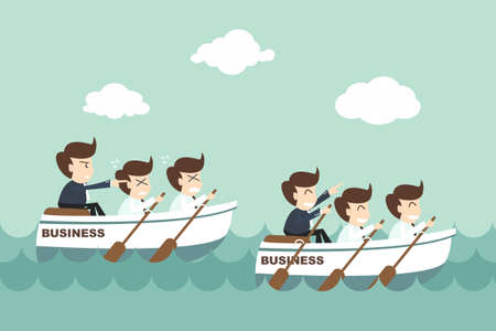 work boat: Leadership - businessman rowing team  Illustration