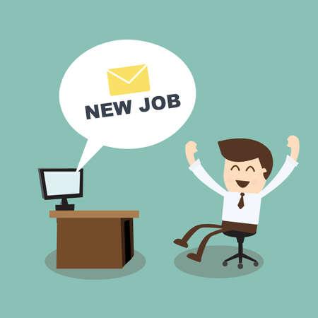 nieuwe baan - gelukkig zakenman met nieuwe berichten computer in het kantoor