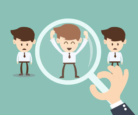 job searching: Job search and Human resource concept, magnifying glass searching people Illustration