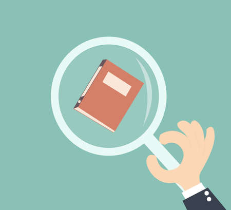 audit concept - hand businessman holding magnifying glass with file documents
