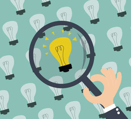 Searching for idea - lightbulbs and hand with magnifier Illustration