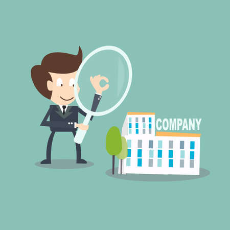 Internal Auditing concept - businessman  with magnifying audit  on company Иллюстрация