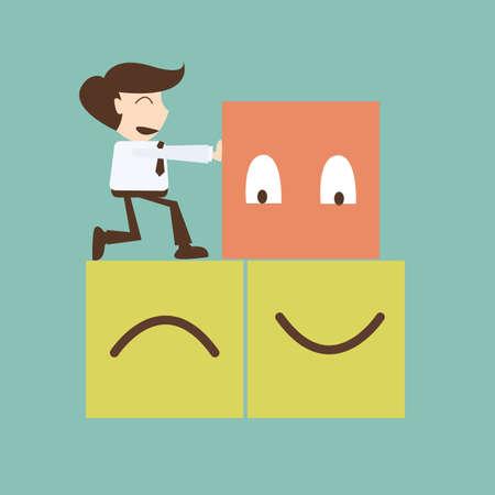 관리 개념을 변경 - 사업가 푸시 상자가 행복