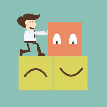 Change management concept - businessman push  box happy Ilustracja