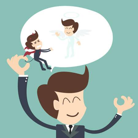악마와 천사 - 긍정적 인 사고의 개념 일러스트