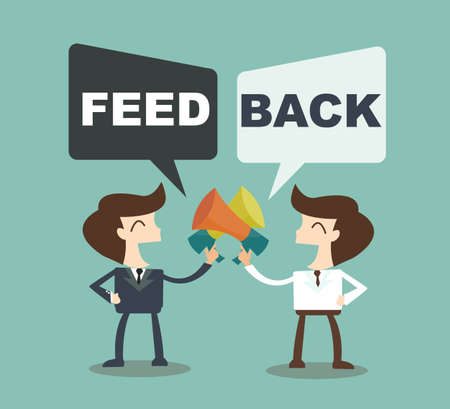 Feedback concept - businessman talk feedback Speech Bubble Ilustração